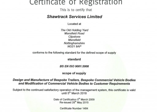 Shawtrack Services ISO Certification
